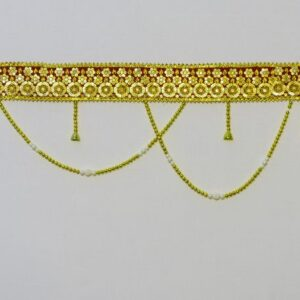 Bandhanwar colorful glowing lace, Golden beads handmade bandarwal