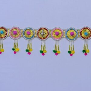 Bandhanwar glowing golden laces, Ganesha, multicolor beads small Chakri pompom handmade bandarwal