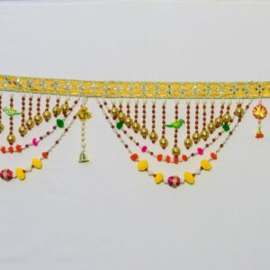 Bandhanwar glowing golden laces, green multicolor beads small chakri red pompom handmade bandarwal