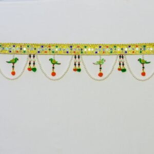 Bandhanwar glowing golden laces, green wooden parrot multicolor beads red pompom handmade bandarwal
