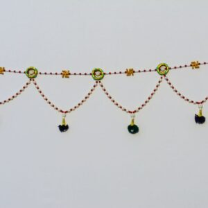 Bandhanwar multicolor beads, Chakri wooden swastik, small green pompoms handmade bandarwal
