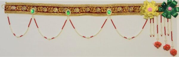 Colorful Red lace Bandhanwar hangings made with artificial flowers, bead strings