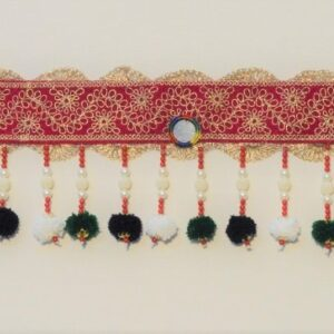 Colorful Red lace and black zula Bandhanwar hangings made with small mirrors bead strings