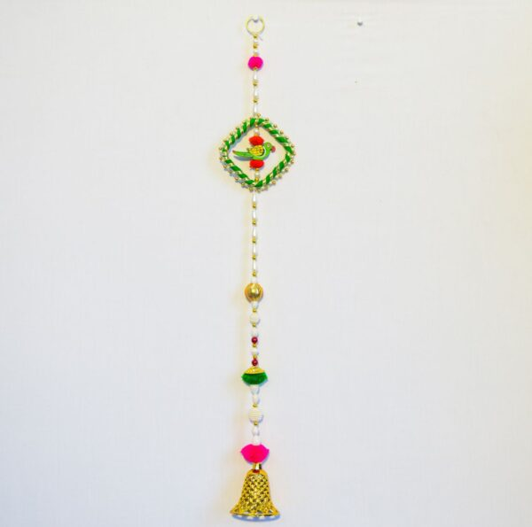 Latkan-Green-parrot-chakri-white-beads-and-bell-wall-hanging-