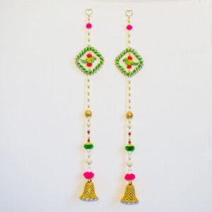 Latkan Green parrot chakri, white beads and bell wall hanging pair