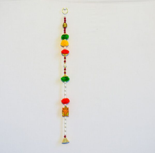 Latkan-Multicolor-Pompom-beads-Ganesha-and-bell-wall-hanging