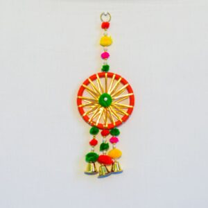 Latkan Tri strip Green red and orange pompom, round Chakri, small golden bell wall hanging pair