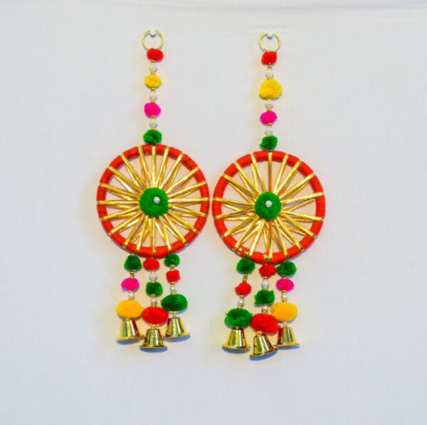 Latkan-Tri-strip-Green-red-and-orange-pompom-round-chakri-small-golden-bell-wall-hanging-pair