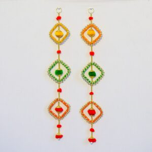 Latkan green orange and yellow chakri, multicolor pompoms handmade wall hanging pair