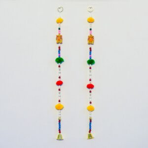 Latkan green red and yellow pompoms multicolor beads, wooden ganesha, small golden bell handmade wall hanging pair