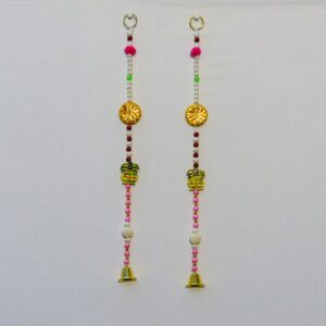 Latkan multicolor beads, Chakri wooden Kalasha, small golden bell handmade wall hanging pair