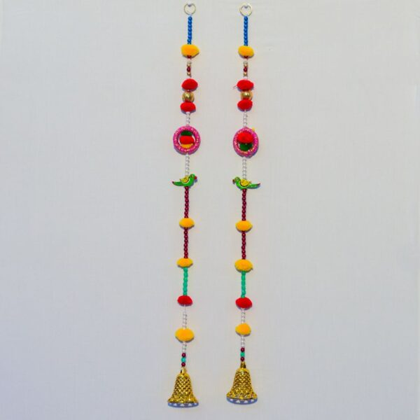 Latkan multicolor beads, chakri and green pair small golden bell handmade wall hanging