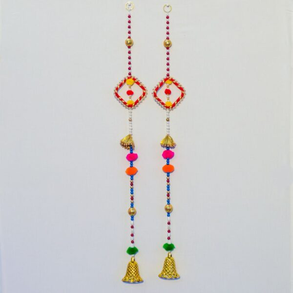 Latkan multicolor beads, chakri and small golden bell handmade wall hanging pair