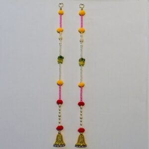 Latkan multicolor beads, wooden Kalasha, small golden Zula handmade wall hanging pair