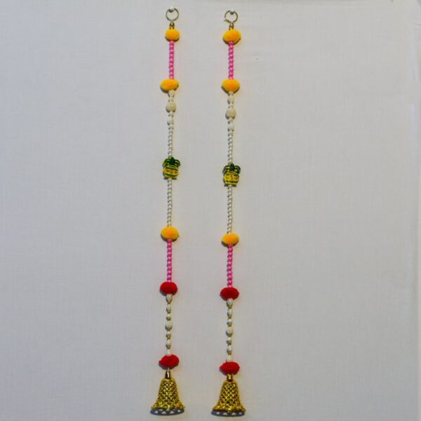 Latkan-multicolor-beads-wooden-Kalasha-small-golden-bell-handmade-wall-hanging-pair