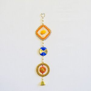 Latkan multicolor chakri, beads and golden bell wall hanging pair