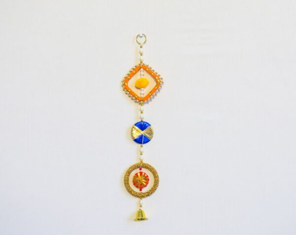 Latkan multicolor chakri beads and golden bell wall hanging