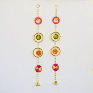 Latkan multicolor chakri white beads golden bell wall hanging pair