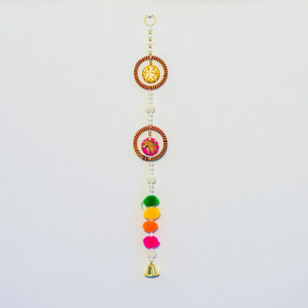 Latkan multicolor pompoms and round chakri with hanging small golden bell handmade wall hanging