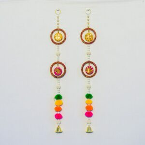 Latkan multicolor pompoms and round chakri with hanging, small golden bell handmade wall hanging pair