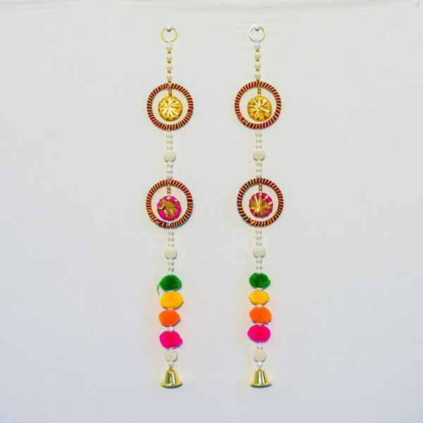 ATTACHMENT DETAILS Latkan-multicolor-pompoms-and-round-chakri-with-hanging-small-golden-bell-handmade-wall-hanging-pair