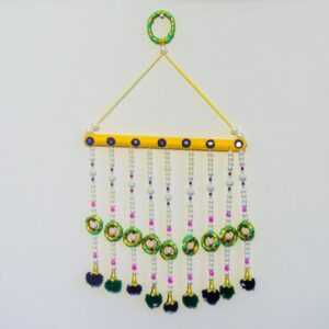Latkan orange base, green Chakri, blue pompom handmade wall hanging