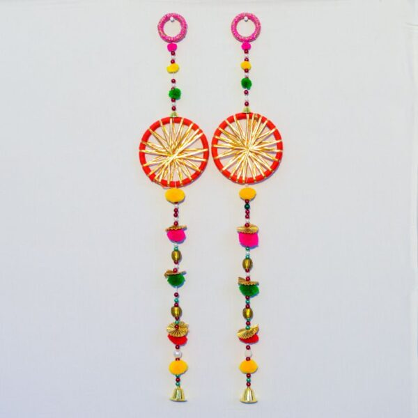 Latkan-red-chakri-with-yellow-strips-pompoms-small-golden-bell-handmade-wall-hanging-pair