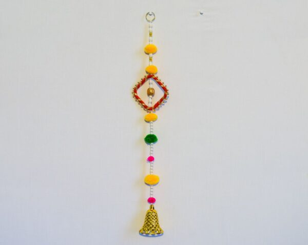 Latkan-white-beads-multi-color-pompom-chakri-and-golden-bell-wall-hanging