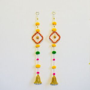 Latkan white beads multi color pompom chakri, and golden bell wall hanging pair