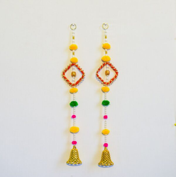 Latkan-white-beads-multi-color-pompom-chakri-and-golden-bell-wall-hanging-pair