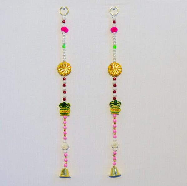 Latkan wooden om Kalasha, multicolor beads small golden bell wall handmade hanging pair