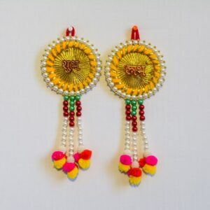 Latkan Subh Labh multicolor beads wall hanging 15 Cms