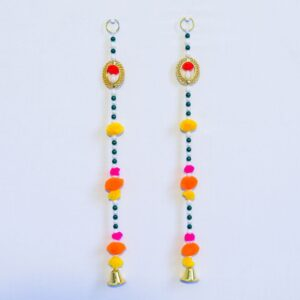 Colorful beads pompom, small golden bell wall hanging Latkan pair