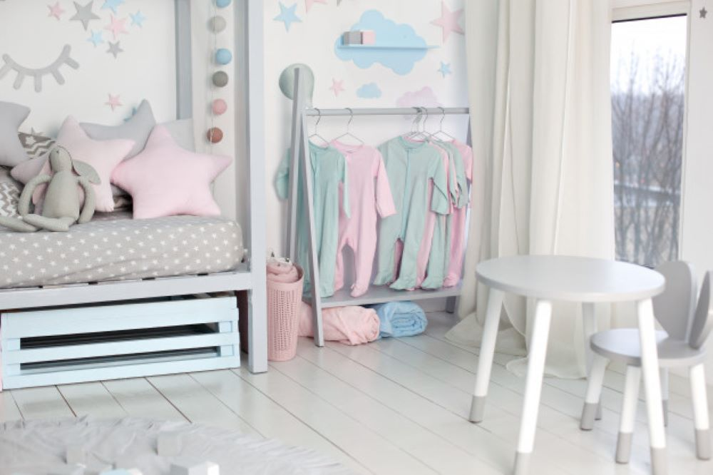 clothes little child hung children room rack with hangers with baby clothes children cloth rack pastel color children clothes row open hanger indoors children s bedroom home decor 149112 280