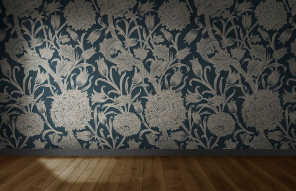 floral wallpaper empty room with wooden floor 53876 74596 1