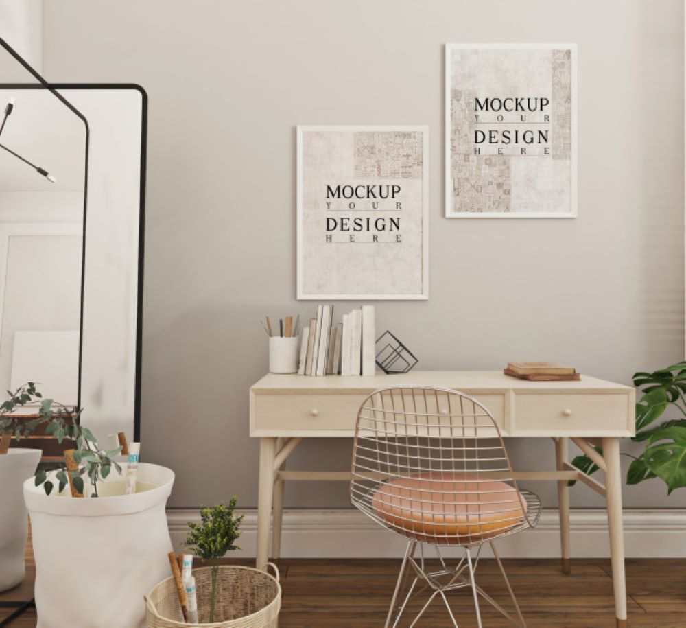 modern simple study room design with mockup poster frame 216839 255
