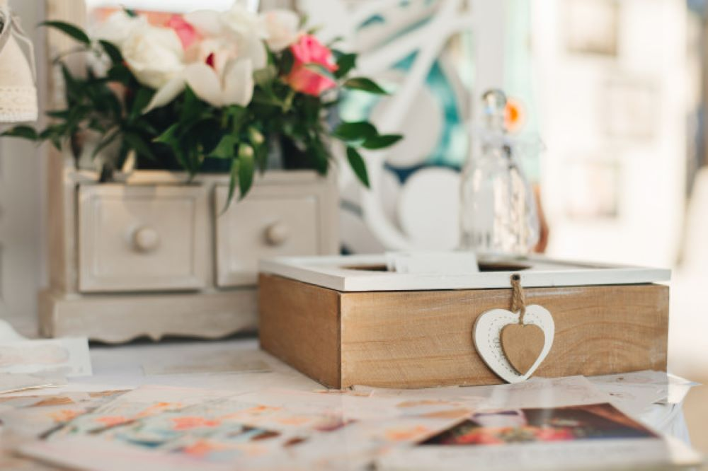 wooden box with hearts decor wedding house rustic style