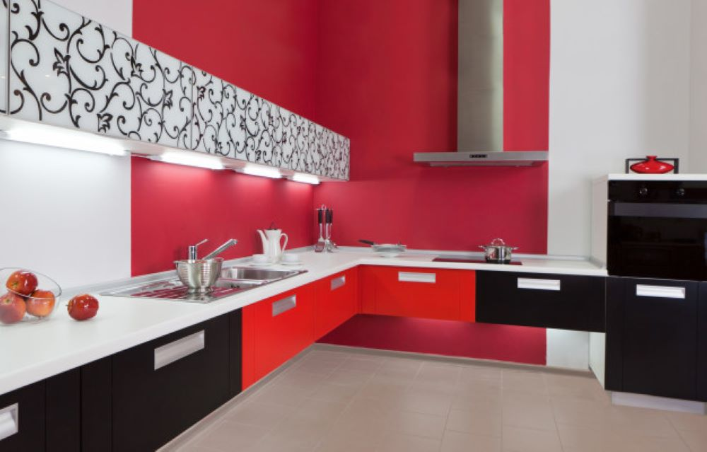 luxurious new red kitchen with modern appliances 104263 9