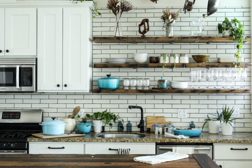 how to decorate your kitchen shelf